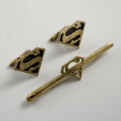 Superman tie clip and cufflinks