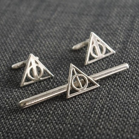 69c0f0addf2e Harry Potter: Tie Clip and Cufflinks of the Deathly Hallows of silver