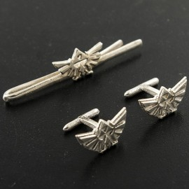 Legend of Zelda:Silver Triforce Tie Clip and Cufflinks