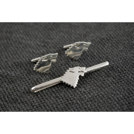 262d46903a03 Set of tieclip and cufflinks in silver of GoT's house of Stark
