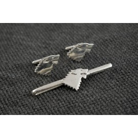 Game of Thrones: House Stark Tie Clip and Cufflinks in silver