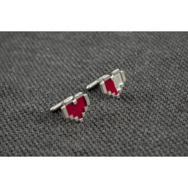Legend of Zelda: Pixel Hearts Silver Cufflinks