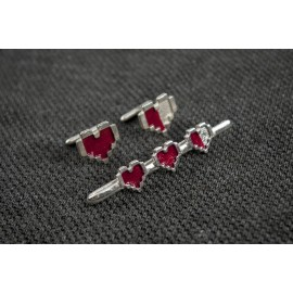 Legend of Zelda: Pixel Hearts Tie Clip and Cufflinks